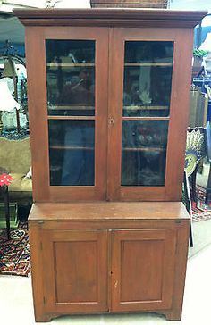 ANTIQUE SOUTHERN PINE & POPLAR STEPBACK CUPBOARD (SOUTH CAROLINA) circa 1830
