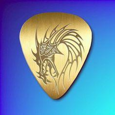Polished Brass Guitar Pick - The Dragon