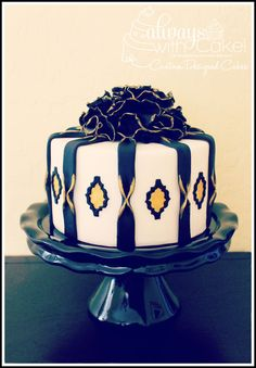 single tier black and gold art deco