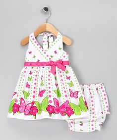 White & Pink Butterfly Dress & Diaper Cover - Infant & Toddler by Rare Editions