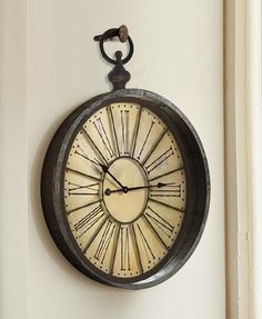 French Railroad Style Clock: found vintage clock face outfitted with a hand-welded iron frame and antique farm hardware by designer Stephanie Reppas. Coming soon, October Design Co.