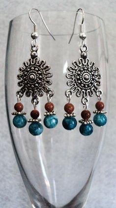 Southwest Dangle Earrings Sunburst Earrings by uniquelyyours2010