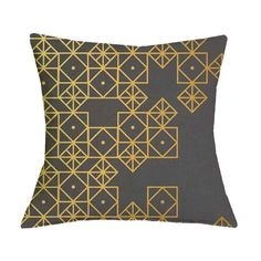 Black and Gold Geometric Graphic Pattern Pillow Case