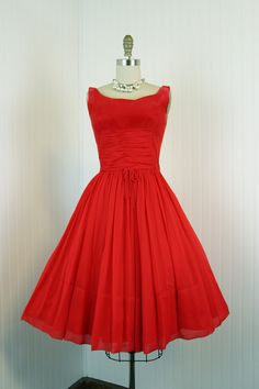 1960's Red Chiffon Party Full Skirt Cocktail Dress