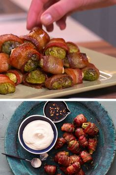 Bacon Recipes, Vegetable Recipes, Appetizer Recipes, Dinner Recipes, Healthy Recipes, Vegetable Appetizers, Vegetarian Recipes, Bacon Wrapped Brussel Sprouts, Brussels Sprouts Recipe With Bacon