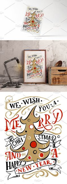 Merry Christmas Lettering Card. Script Fonts