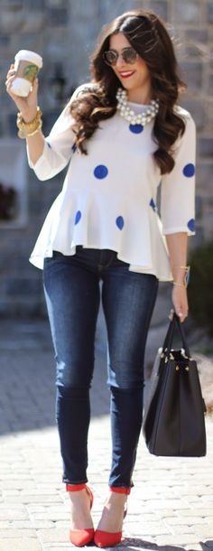 Choies White Blue Dot Peplum Blouse Blouses Peplum Blouses Peplum Blouse Peplum Blouse Outfit Ideas CAn I Buy Dot Peplum Blouses Blouses Dot Blouses Blouses Look Fashion, Fashion Outfits, Womens Fashion, Fashion Trends, Fashion 2014, Spring Fashion, Looks Style, My Style, Casual Outfits