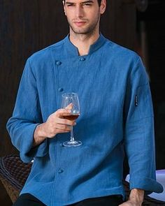 F&L Men's Long Sleeve Professional Chef Jacket-Blue Winter Outfits Men, Professional Chef, White Long Sleeve, Covered Buttons, Chef Jackets, Trousers, Shirt Dress, Fabric, Sleeves