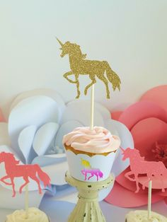 Pink and Gold Unicorn Cupcake Toppers, Party Decor, Cupcake Toppers, Party Supplies, Cupcake Decor,Birthday Decoration,Cake Topper,Smashcake by KissHugDesign on Etsy