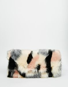 ASOS Co-ord Faux Fur Blocked Clutch Bag