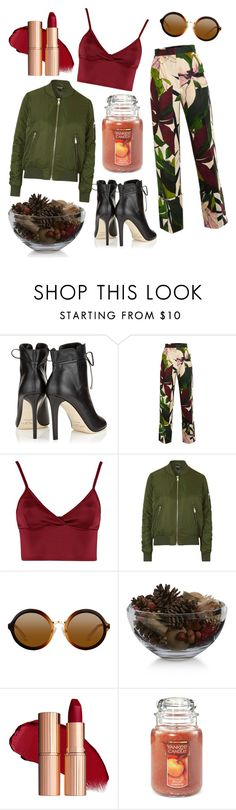 """""""Pumpkin spice #2"""" by andreaj247 ❤ liked on Polyvore featuring Jimmy Choo, Erika Cavallini Semi-Couture, Lipsy, Topshop, Crate and Barrel and Yankee Candle"""