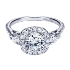 Gabriel & Co. 14K White Gold Contemporary Halo Engagement Ring, available at Harrison Jewelers.