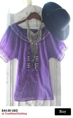 #Vintage #gauzetop, Purple Mexicali top, #Bohochic clothes, #Romantic #poetsblouse, Spring break, #Hippiechic smock top