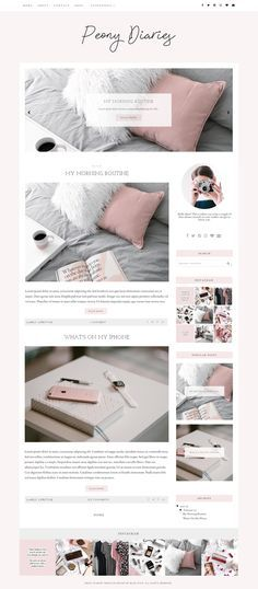 Peony Diaries | A responsive Blogger template | Premade, feminine Blogger templates + blog themes by BlogPixie on Etsy