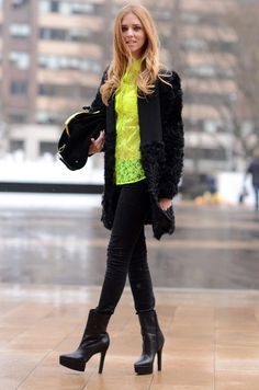 Chiara from The Blonde Salad wearing an MSGM neon lace shirt