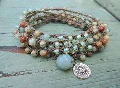 Crochet long 6x wrap bracelet necklace  Desert Sun  di slashKnots