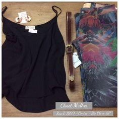 Look Closet Mulher  Top, jeans estampado, acessórios  www. Facebook/closetmulher.com