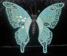 Turquoise Butterfly. Metal with glass mosaic
