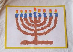 Paper mosaic menorah. My kids would love making this.