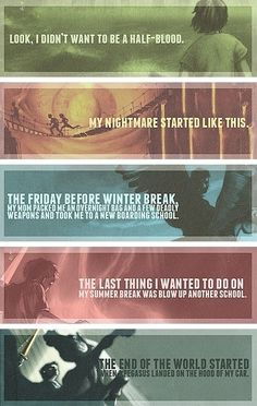 The first line from every Percy Jackson and the Olympians book