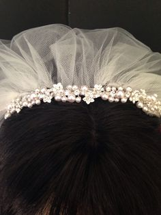 Excited to share the latest addition to my #etsy shop: White Pearl & Rhinestone Headband #firstcommunion #communionveil #communionheadband