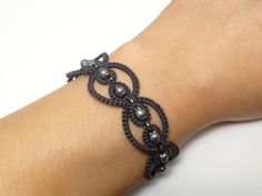 Tatted Lace Bracelet in modern colors with glass by SnappyTatter