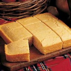 Favorite Corn Bread.  The shortening and sugar make it a little denser and sweeter than southern style.  I prefer it this way with honey butter.