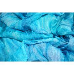 silk scarf aqua blue Shibori dyes Silk scarf scarf ruffled Hand Dyed,... via Polyvore featuring accessories, scarves, pure silk scarves, ruffled shawl, shibori scarves, silk scarves and shibori silk scarves