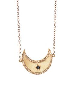 Andrea Fohrman - Waxing Gibbous Moon Necklace - Ylang 23 Waxing Gibbous, Moon Necklace, Fine Jewelry, Pendants, Jewels, Pretty, Rings, Gold, Queen