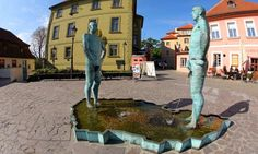 David Cerny sculpture in the Kafka museum in Prague: Two men urinating on a map of the Czech Republic. Visitors can text a message to the sculpture (phone number displayed next to sculpture) and the message will be written onto the water by the moving penises.