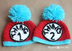 Thing 1 and Thing 2 Crochet Hats (from Repeat Crafter Me blog). @Erika Grimes, you need to have that Thing 1 & Thing 2/Dr. Suess party now! :)