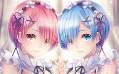 Download wallpapers Ram, Rem, sisters, manga, Re Zero kara Hajimeru Isekai Seikatsu