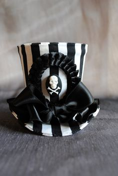 Striped Gothic Pirate Mini Top Hat Made to by RagDolliesMadhouse