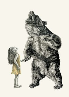 Bear With Me -A3- Illustration Print -Lauren Mortimer - Girl $125