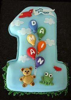 First Birthday Cake Number 1 Boy Teddy Bear