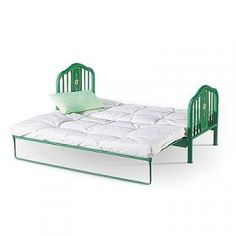 Kit's Day Bed, yay, got it on sale! Boy Doll, Girl Dolls, American Girl Accessories, Doll Accessories, American Girl Furniture, Metal Daybed, Dollhouse Design, Baby Alive Dolls, Green Bedding