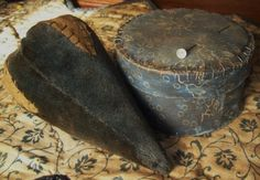 Cee has THE BEST taste in antique textiles!!!!  These are GORGEOUS!   ---Vintage velvet and covered pin box in blues