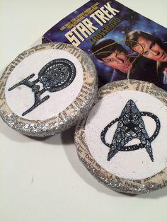 Star Trek Christmas Ornament, recycled star trek book and unique artwork, enterprise spaceship