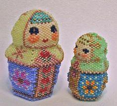 Beaded Matryoshka (Matryoshka). Cute Russian folk craft dolls of different sizes
