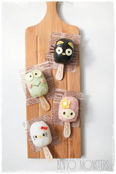 rice ball onigiri on ice cream stick, featuring your favorite Sanrio characters Food Kawaii, Kawaii Bento, Kawaii Cooking, Lunch Box Bento, Cute Bento Boxes, Bento Food, Japanese Candy, Japanese Sweets, Japanese Food Art
