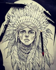 Indian Women Tattoo, Indian Girl Tattoos, American Indian Tattoos, Indian Tattoo Design, Mexican Art Tattoos, Wiccan Tattoos, Celtic Tattoos, Tattoo Design Drawings, Tattoo Sketches