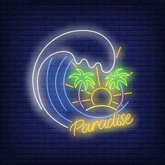 Neon Words, Neon Logo, Neon Design, Neon Wallpaper, Neon Aesthetic, Vector Photo, Instagram Highlight Icons, Neon Lighting, Ocean Waves
