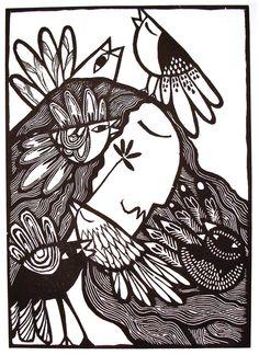 "Pajaristicamente alejandro silva - grabado "" it's confusing me "" Engraving Printing, Wood Engraving, Social Art, Guache, Painting Gallery, Arte Popular, Tampons, Logo Inspiration, Art Forms"
