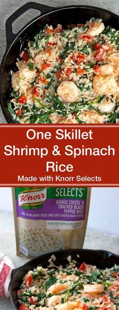 This One Skillet Shrimp & Spinach Rice with Asiago Cheese made with @Knorr Selects is a simple, family-friendly 20-minute meal with little clean-up required! #KnorrSelectsPartner #ad