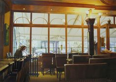 """Thierry Duval (©2009 artmajeur.com/berlin) Aquarelle originale - Paris. Le temps c'est figé dans ce café parisien, un personnage, seul, écrit semble-t-il, deux autres, à droite de l'image, attendent, vont-ils entrer ? ... Un quatrième homme, au plein centre de l'image se distingue à peine, peut-être est-ce lui le chaînon manquant de cette scène... Cette aquarelle, comme la précédente (""""Minuit Venise""""), est un hommage au peintre Edward Hooper, et à ces scènes de café la nuit. Prix sur…"""