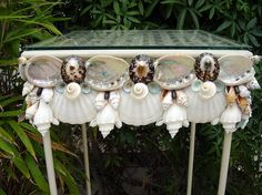 Beach Decor Shell Garden Table II with Polished Limpets and Abalone Shells on Etsy, $325.00