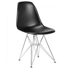 Charles Eames Style DSR Plastic Moulded 'Eiffel' Chair (set of four) Black ABS - Plastic £140