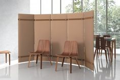Never underestimate the power of simplicity. Acoustic wall panels, fashioned after traditional room screens, easily divide open office spaces to accommodate impromptu meetings and cozy reception areas. Partition Screen, Divider Screen, Commercial Furniture, Commercial Interiors, Modular Furniture, Outdoor Furniture Sets, Office Furniture, Open Space Office, Office Spaces