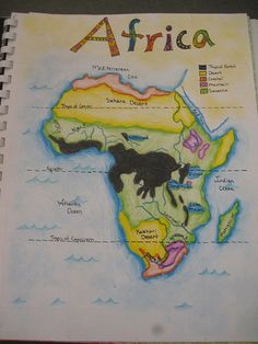 Waldorf ~ grade ~ Geography ~ Map of Africa Geography Activities, Geography Map, Geography Lessons, Teaching Geography, World Geography, Teaching History, History Education, 7th Grade Social Studies, Social Studies Classroom