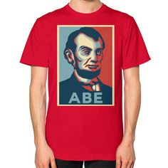 """""""ABE LINCOLN """"HOPE"""" DESIGN"""" UNISEX T-SHIRT (Color : Red) - By Gordons Wear"""